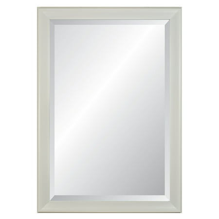 (Lakeside White Frame, Beveled Wall Mirror 28
