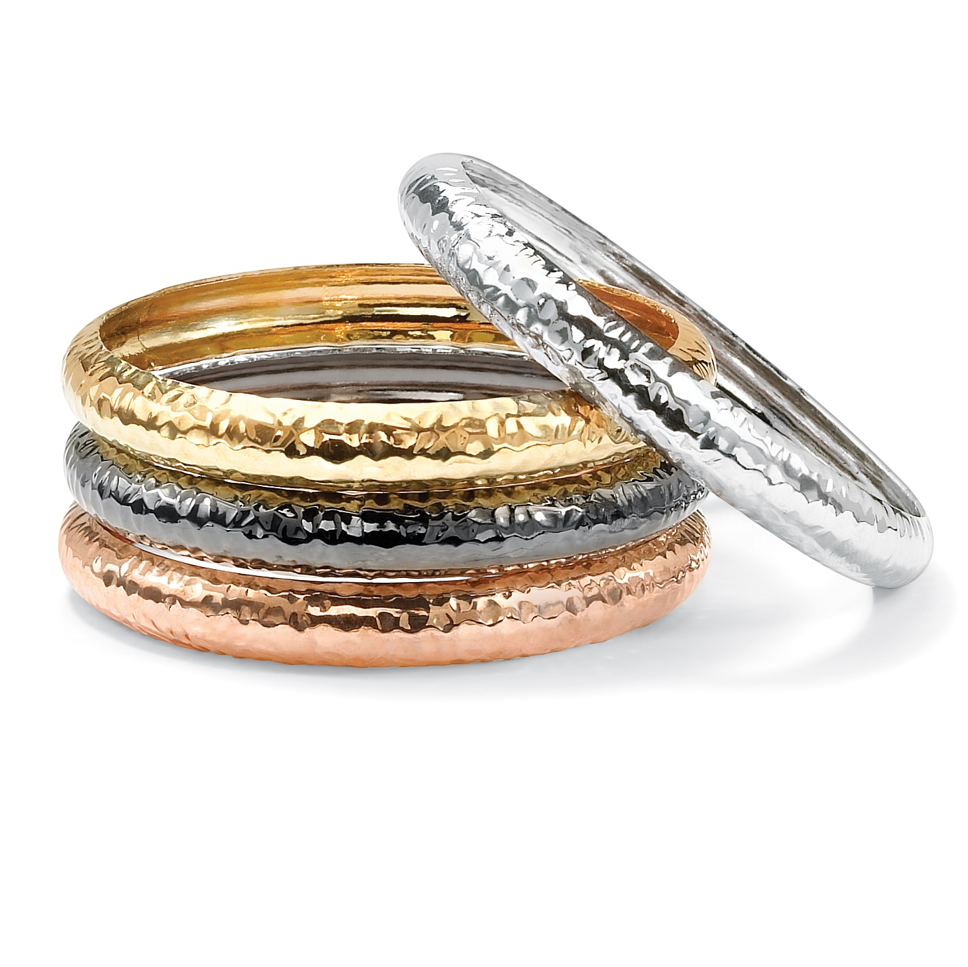 Gold Tone, Silvertone, Rose Gold-Plated Black Rhodium-Plated Hammered 4-Piece Bangle Bracelet Set