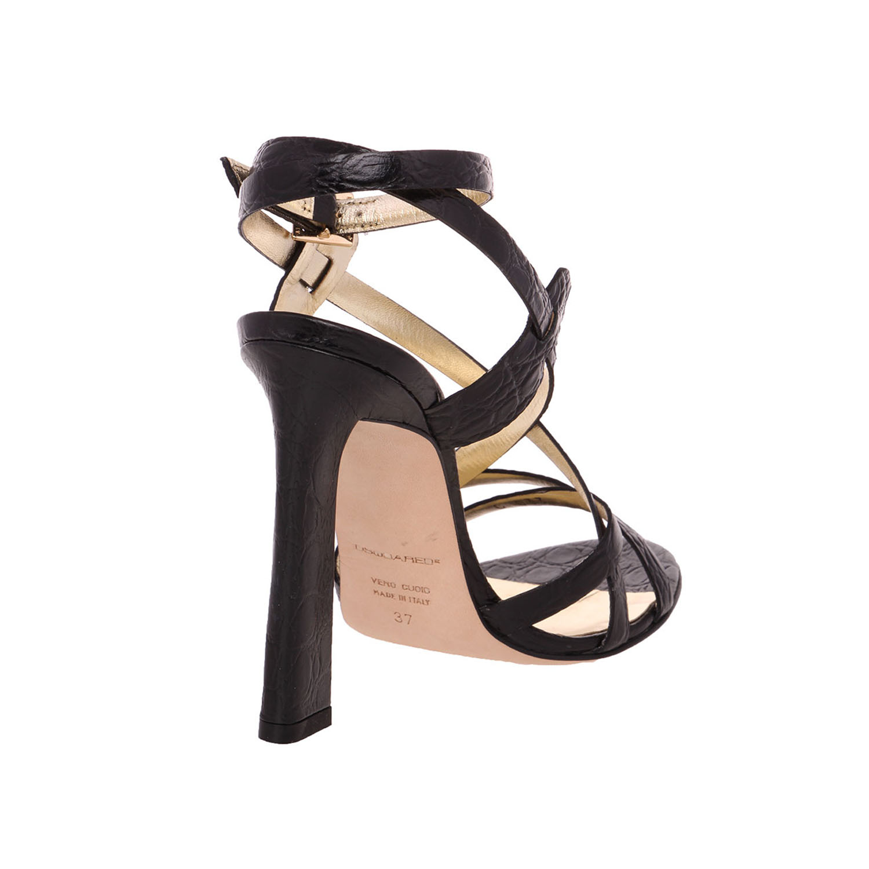 Dsquared2 Women Black Crocodile Heel Embossed Leather Slim High Heel Crocodile Sandals Shoes US 8 EU 38 a9d50c