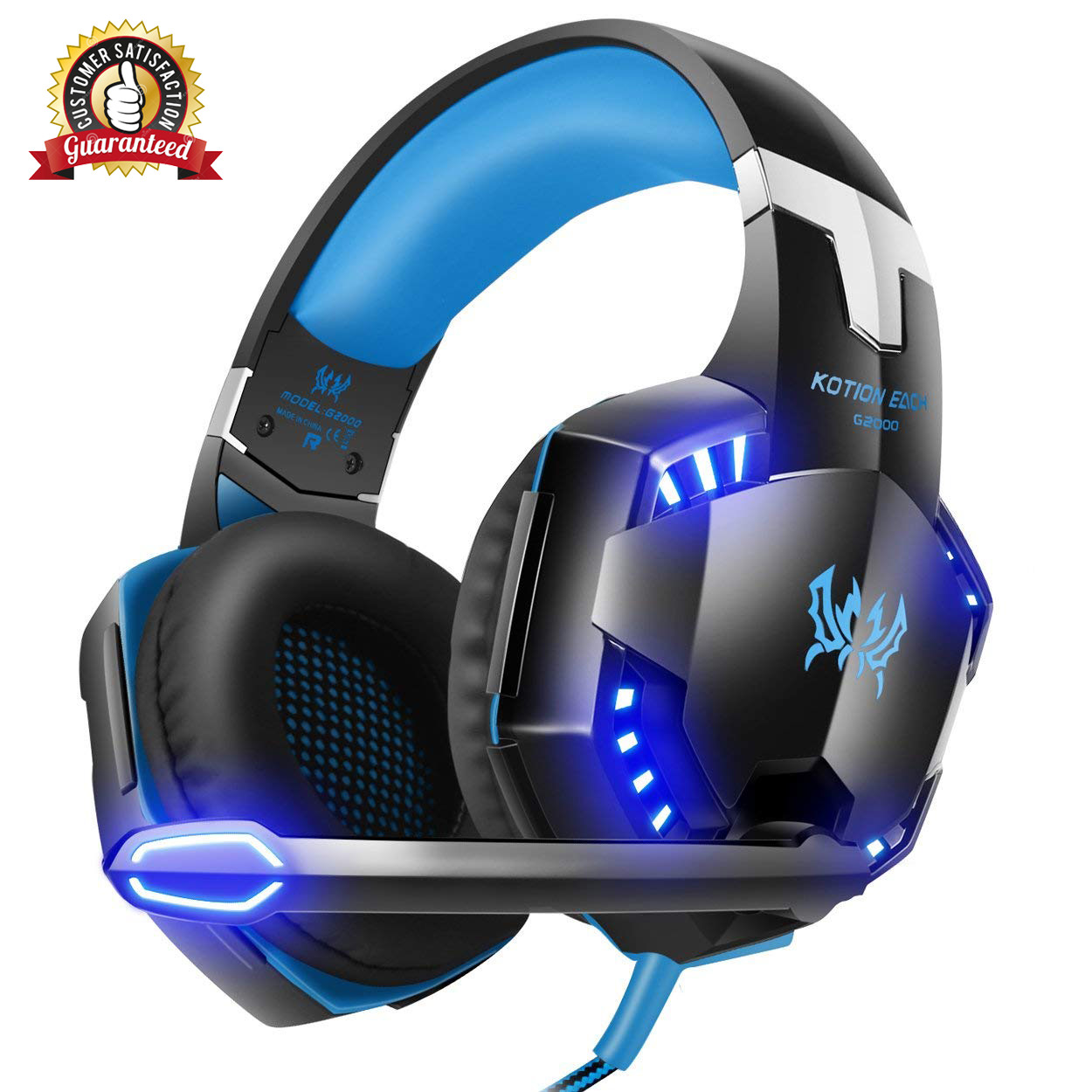 Stereo Gaming Headset for PS4, PC, Xbox One Controller, Noise Cancelling Over Ear Headphones with Mic, LED Light, Bass Surround, Soft Memory Earmuffs for Laptop Mac Nintendo Switch Games