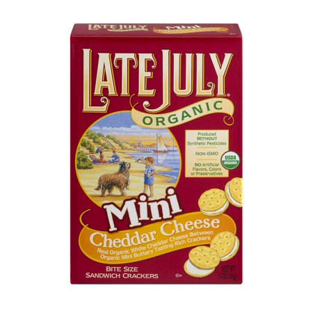 Late July Snacks Organic Mini Cheddar Cheese Crackers 5 Oz