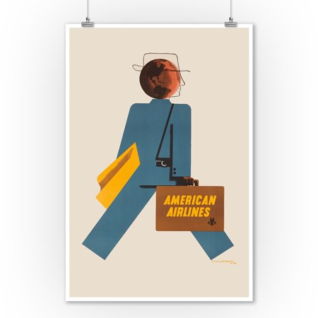 American Airlines Vintage Poster (artist: Kauffer) USA c. 1948 (9x12 Art Print, Wall Decor Travel Poster)