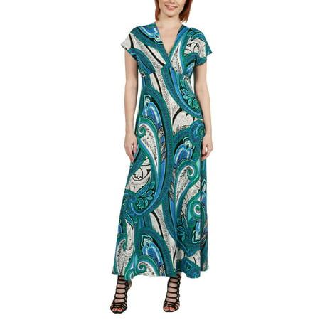 - Women's Dress Gisele Green and Blue Empire Waist Maxi Dress