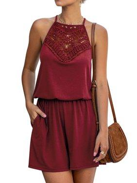 Women Halter Neck Sleeveless Crochet Button Closure Jumpsuit