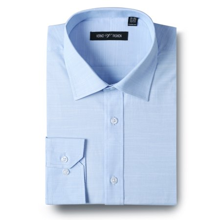 Men's Dress Shirt Regular Fit Solid Long Sleeve Blue Cotton Slub Dress Shirts for Men