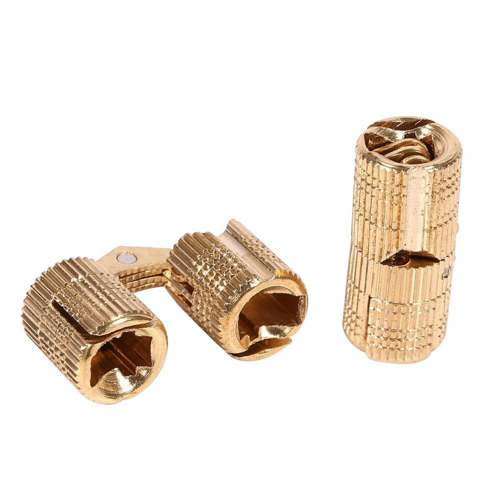 Nice 2pcs 10-16mm Brass Barrel Invisible Hinge for Cabinet Door Caravan Worktops