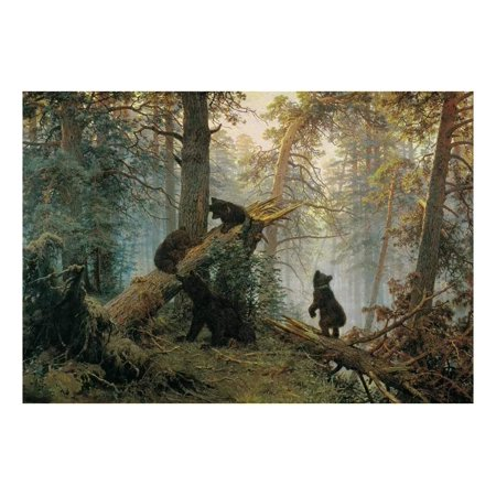 wall26 Morning in a Pine Forest (Bears Playing on a Fallen Tree) by Ivan Shishkin Russian - Wall Mural - 100x144 inches