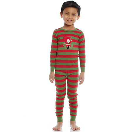 Leveret Kids Christmas Pajamas Santa Pajamas Boys Girls & Toddler Pajamas Red White Green 2 Piece Pjs Set 100% Cotton (12 Months-14 Years)