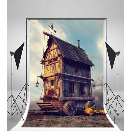 XDDJA Polyester Fabric 5x7ft Vintage Wood House Backdrop Mysterious Cabin on Wheels Pumpkin Photography Background Boy Girl Kid Artistic Portrait Fairy Tale Retro Photo Studio Props Video Drop Drape - image 2 de 2