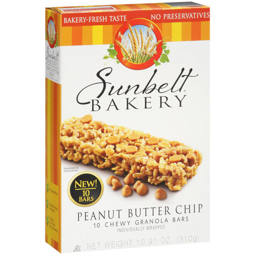 Sunbelt Bakery Peanut Butter Chip Chewy Granola Bars, 10 count