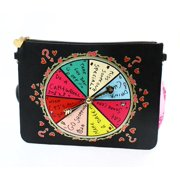 Betsey Johnson NEW Black Faux Leather Spinner Slim Shoulder Bag Purse $78 #18