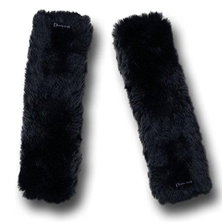 Zento Deals Soft Faux Sheepskin Seat Belt Black Shoulder Pad- Two Packs- A Must Have for All Car Owners for a More Comfortable (Best Deals On Seat Cars)