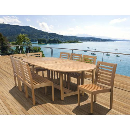 Amazonia  Amelia Eucalyptus Wood 9-piece Extendable Oval Outdoor Dining Set