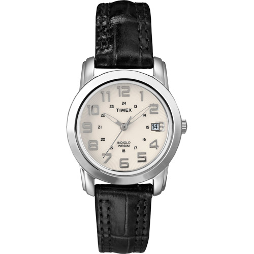 Timex Women's Sport Chic Watch, Black Leather Strap