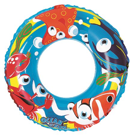 Inflatable Blue Ocean Fun Children's Swimming Pool Inner Tube Ring Float, 20-Inch - Christmas Float Supplies