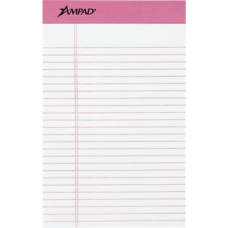 TOPS, TOP20078, Pink Binding Writing Pads, 6 / Pack