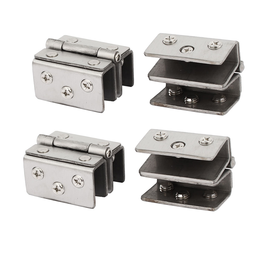 Bathroom Cabinet Door Glass to Glass Hinge Clamp Clips 4pcs for 8mm-10mm Glass
