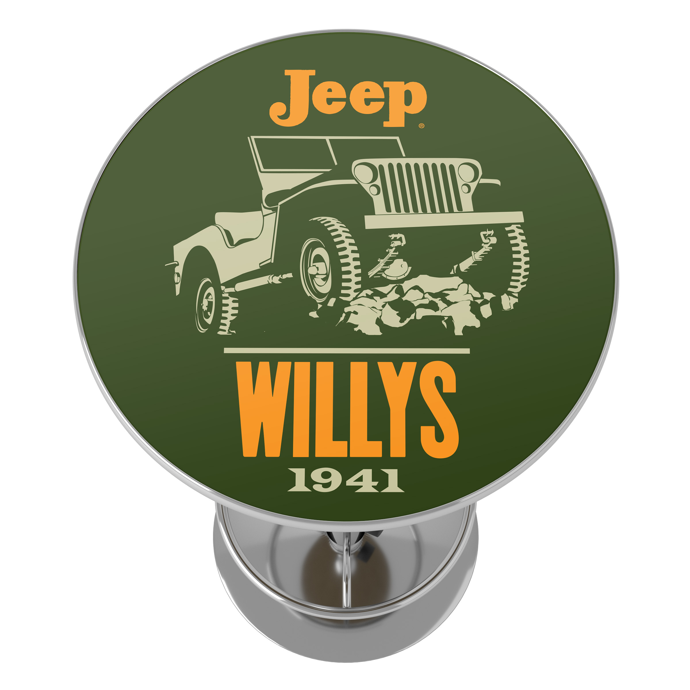 Trademark Global Chrome Pub Table Jeep Willys Vintage Bar Height High Top with Adjustable Foot Rest /& Acrylic Counter for Garage or Man Cave