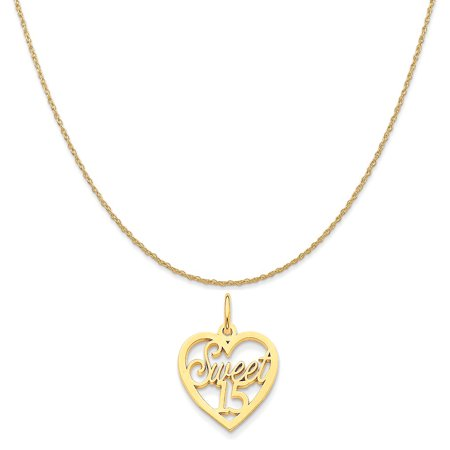 14k Yellow Gold Sweet 15 Charm on a 14K Yellow Gold Rope Chain Necklace, 16""