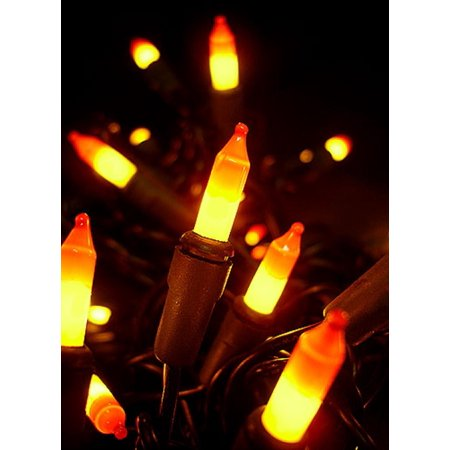 set of 100 yellow orange candy corn mini halloween lights brown wire