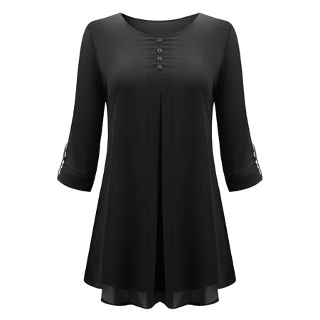 Women Casual Leisure O Neck Pleated Cuffed Sleeve Chiffon T-shirt Blouse Tops - image 6 of 9