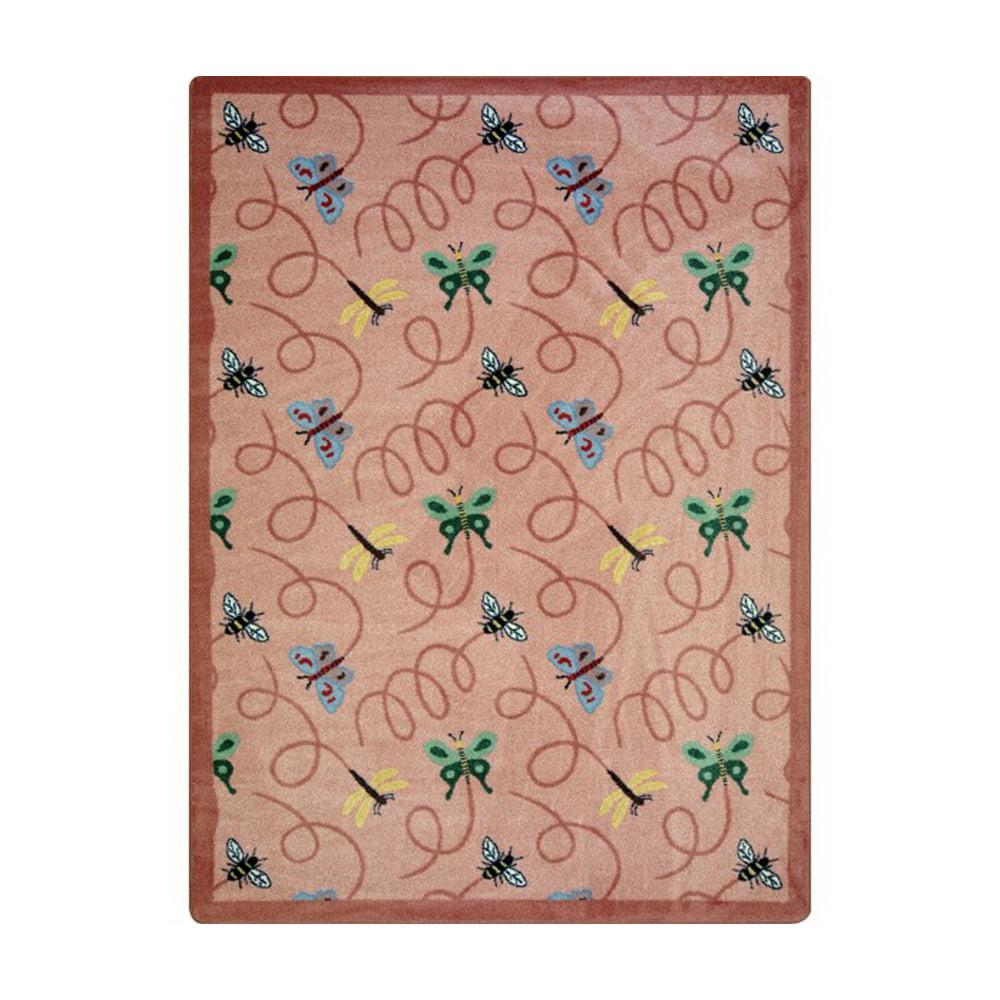 "Joy Carpets Kaleidoscope - Whimsical Area Rugs Wing Dings, 7'8"" x 10'9"", Rose"