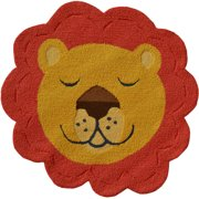 """The Rug Market Shaped Lion Face 3"""" x 3"""" Area Rug"""