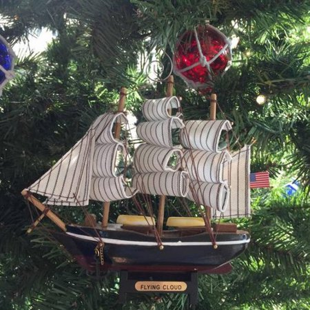 - Handcrafted Nautical Decor Flying Cloud Ship Christmas Ornament