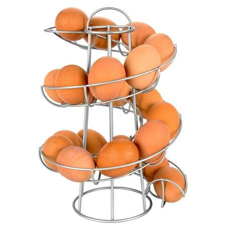 - Egg Skelter Deluxe Modern Spiraling Dispenser Rack, Silver