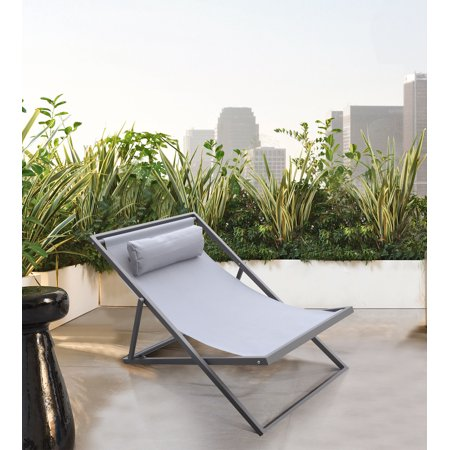 Armen Living Wave Outdoor Patio Aluminum Deck Chair, Grey