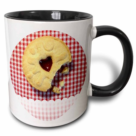 3dRose Jammy Dodger Cookie on Red and White Gingham Background - Two Tone Black Mug, 11-ounce ()