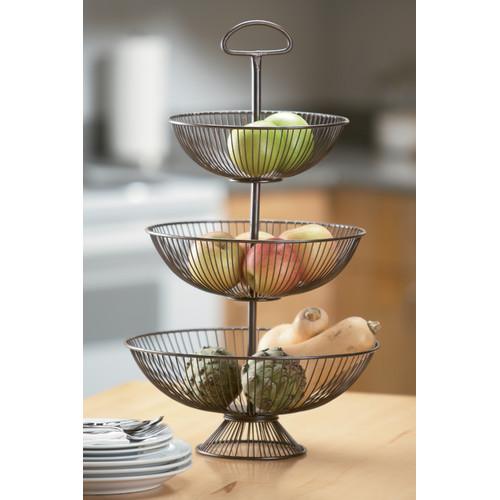 Kindwer BrownThree-Tier Decorative Wire Basket Stand