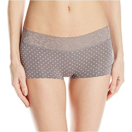 Dot Mesh Boyshort - Womens Cotton Dream with Lace Boyshort 5 Steel Grey Dot
