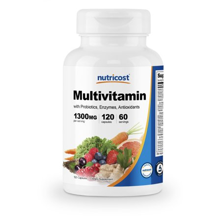Nutricost Multivitamin 120 Capsules - With Probiotics and Enzymes Multivitamins are as common as rocks these days, but finding one that gives you what you actually need can be difficult. Multivitamin is nothing like anything youve ever seen in the multivitamin world. Nutricost's Multivitamin foundation is the top 10 superfoods. Building on that only makes it better and stronger. Nutricost's Multivitamin is innovative and astoundingly effective. Nutricost's daily Multivitmin has a ton of benefits when taken regularly and as directed. Give Nutricost's Multivitamin a try!
