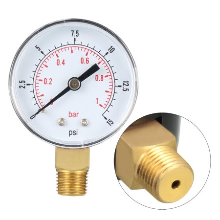 "Pressure Gauge , 0-15 PSI/0-1 Bar , 2"" Dial Display ,1/4"" BSPT Male Bottom Mount - image 2 of 4"