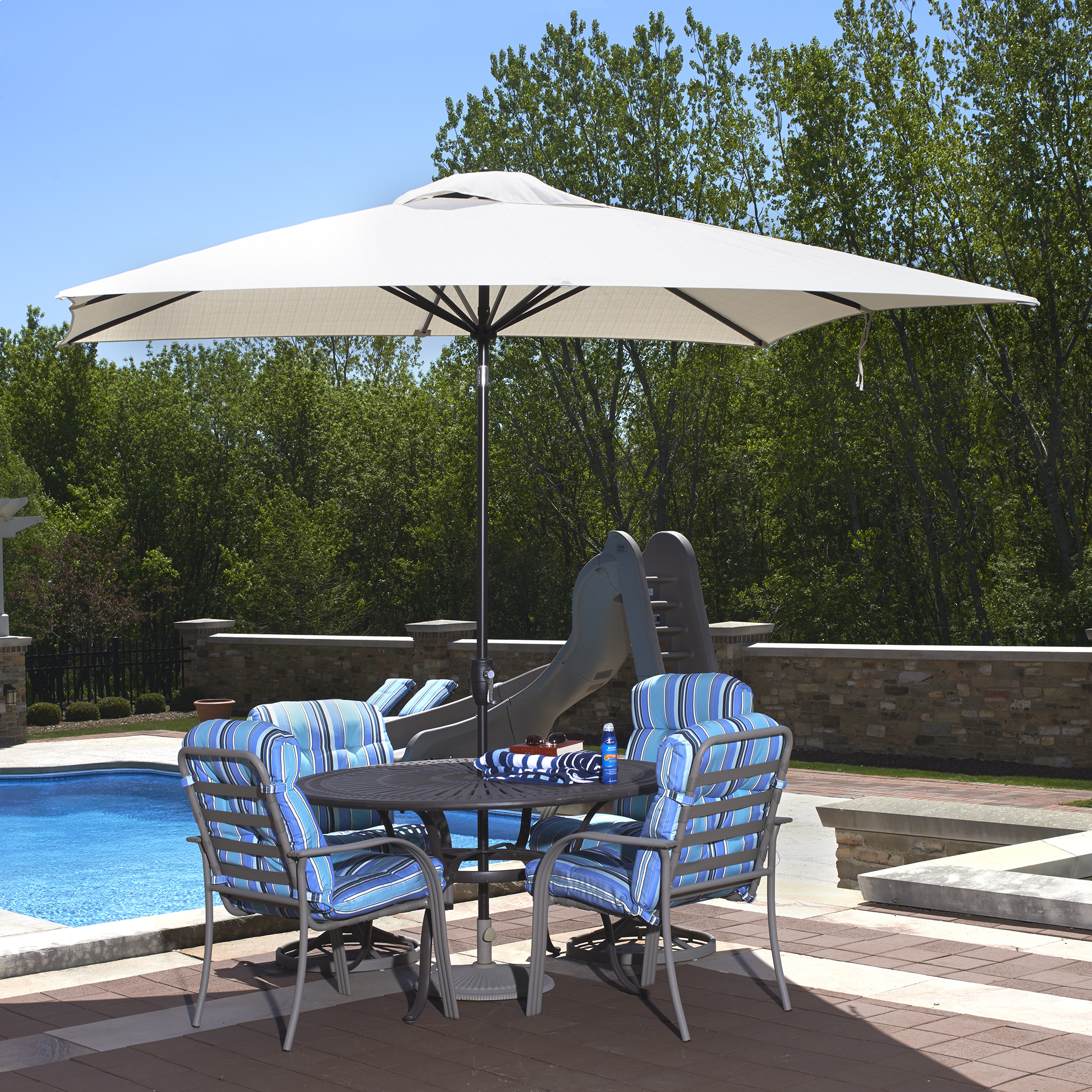 Swim Time Caspian 8' x 10' Rectangular Market Umbrella by Generic
