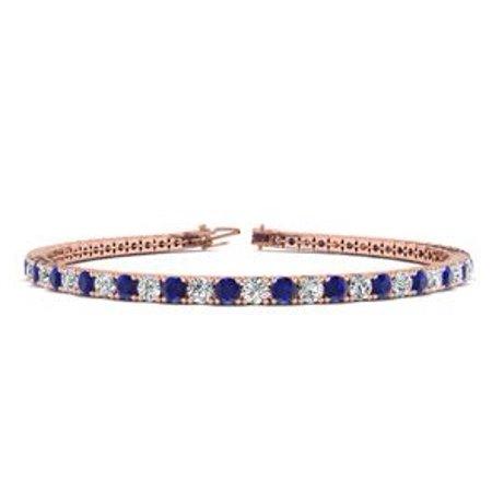 1ccd0b5d13056 9 Inch 6 Carat Sapphire And Diamond Tennis Bracelet In 14K Rose Gold