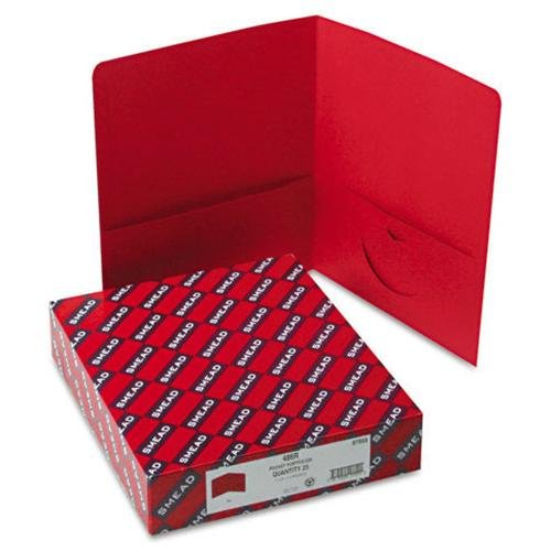 "Smead 87859 Red Two-pocket Heavyweight Folders - 9.75"" Width X 11"" Length Sheet Size - 100 Sheet Capacity - Ring Fastener - 0.50"" Folder Fastener Capacity - 2 Pockets - Leatherette - Red - (87859_40)"