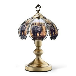 "Glass Black Bear Theme Antique Bronze Base Touch Lamp 14.25""h, This touch lamp is 14 inches tall. By OK Lighting"