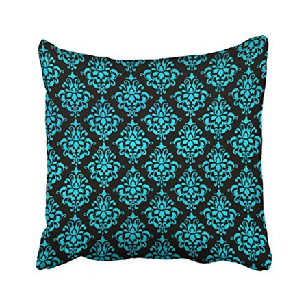 WinHome Decorative Teal Blue and Black Floral Pattern Throw Pillow Case Covers Flower Design Home Sofa Decorative Size 18x18 inches Two Side