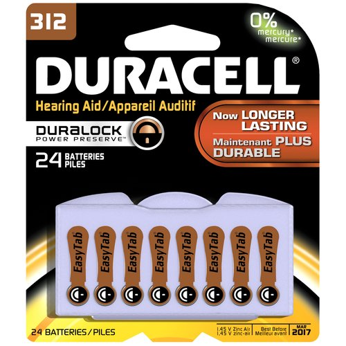 Duracell Easy Tab Hearing Aid Batteries, Size, 312, 24 count