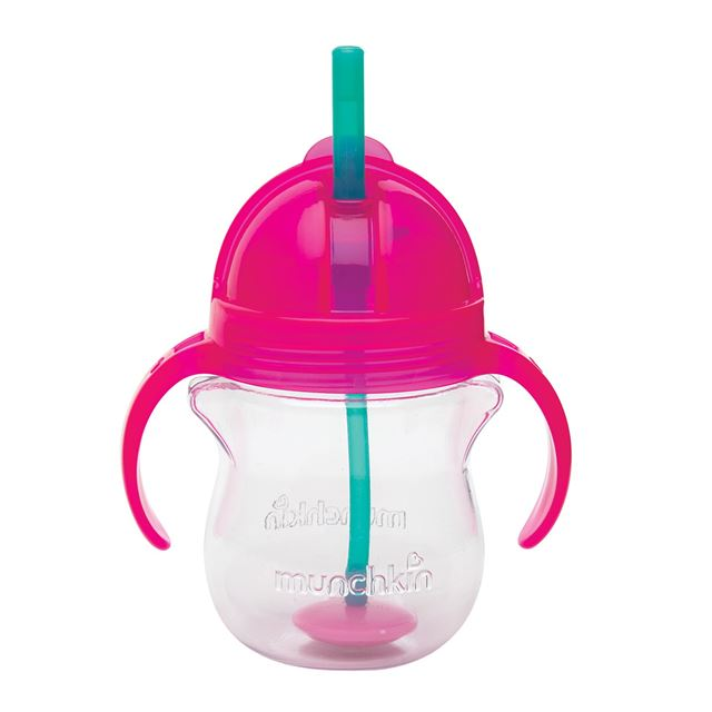 Munchkin Click Lock 7 Ounce Weighted Flexi-Straw Cup - Pink