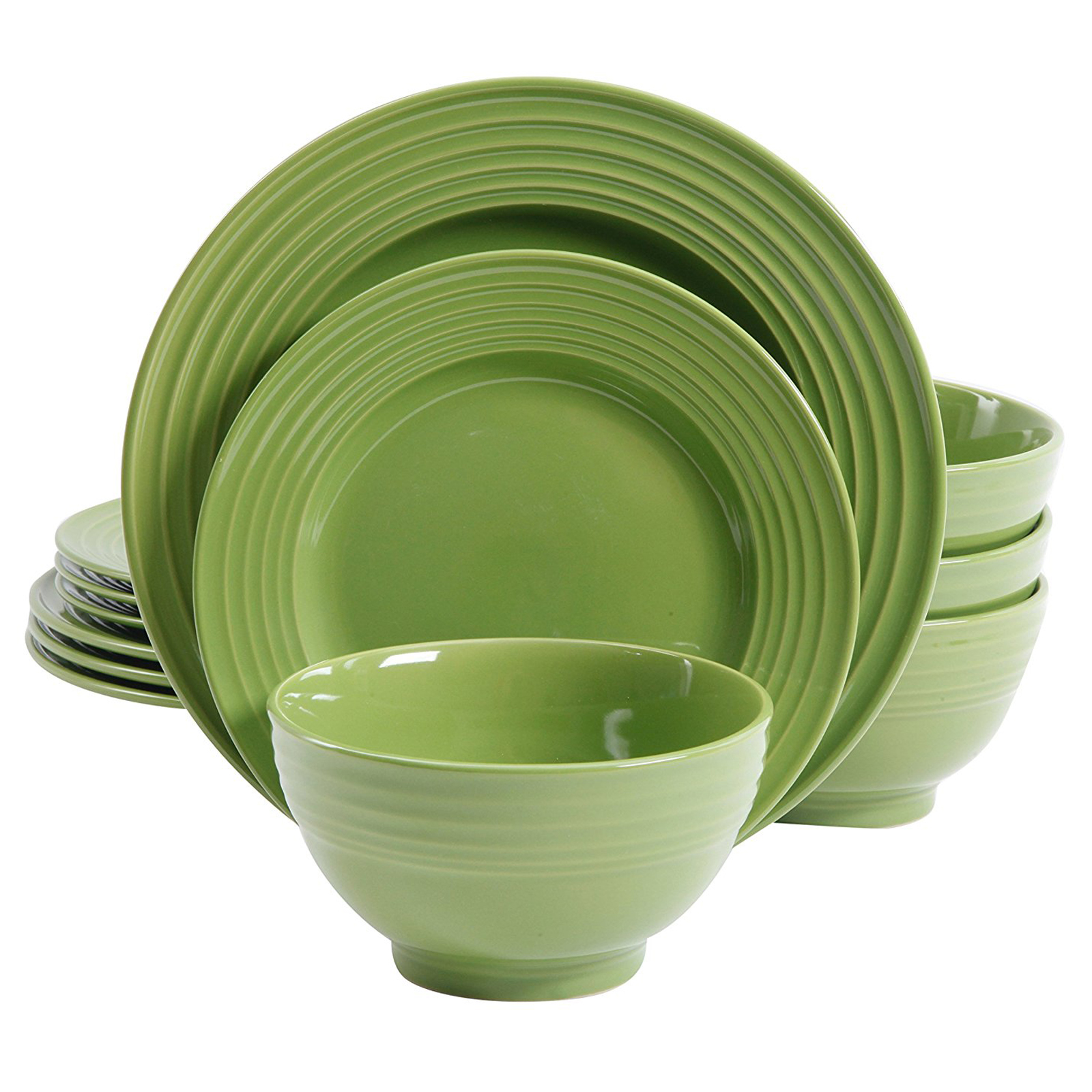 Plaza Cafe 12 pc Dinnerware Set - Green - Solid Color - Stoneware  sc 1 st  Walmart.com & Plaza Cafe 12 pc Dinnerware Set - Green - Solid Color - Stoneware ...