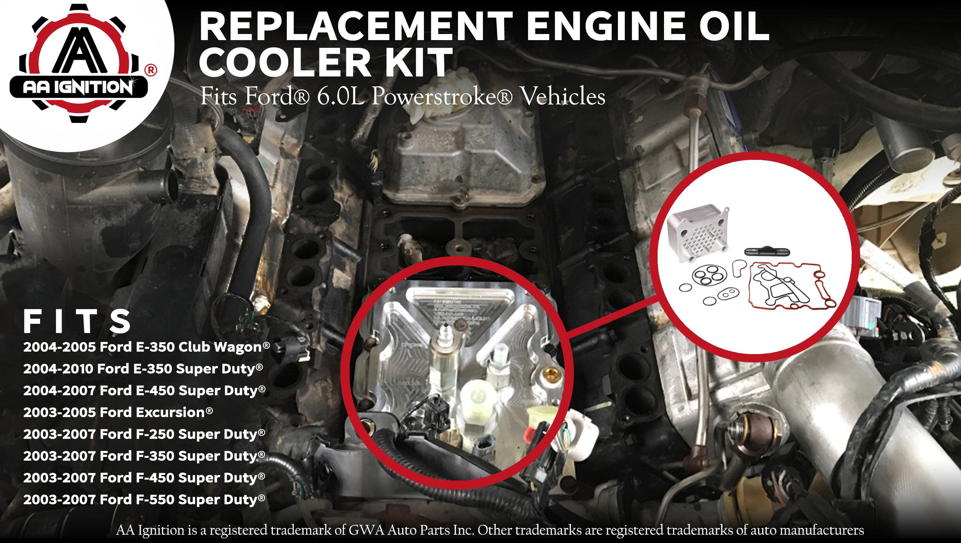 904-228 Engine Oil Cooler Kit 015339 Viton Gasket Seal Kit OCK388 Replaces Part# 3C3Z 6A642 CA E-450 E350 F-350 904228 F550 Super Duty F450 Fits Ford Powerstroke 6.0L V8 F250 Excursion