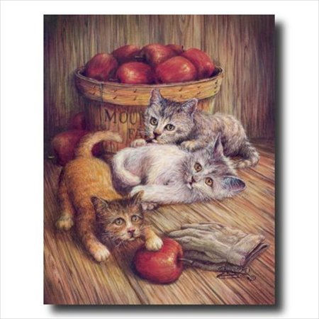 Art Apple (Country Kitten Kitty Cat Apple Wall Picture Art Print )