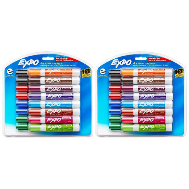 Expo Low Odor Dry Erase Markers Chisel Tip Assorted 16 Count 2 Pack Walmart Com Walmart Com