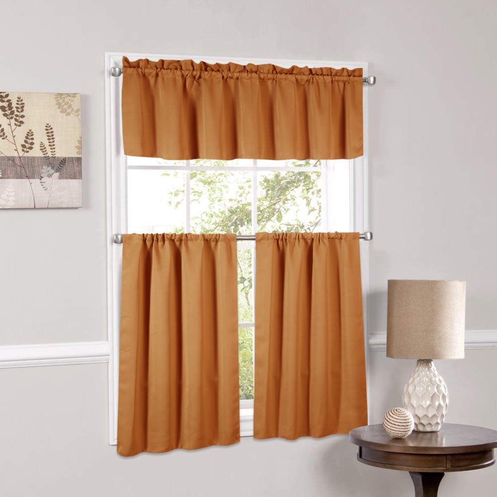 Ordinaire Blackout Kitchen Curtains Polyester Valance U0026 Tiers 3 Piece Set   Beth  Orange