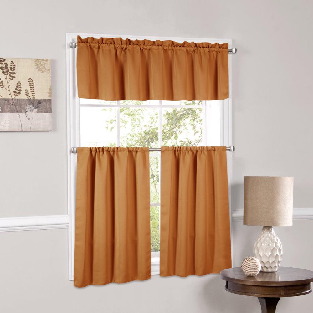 Charmant Blackout Kitchen Curtains Polyester Valance U0026 Tiers 3 Piece Set   Beth  Orange