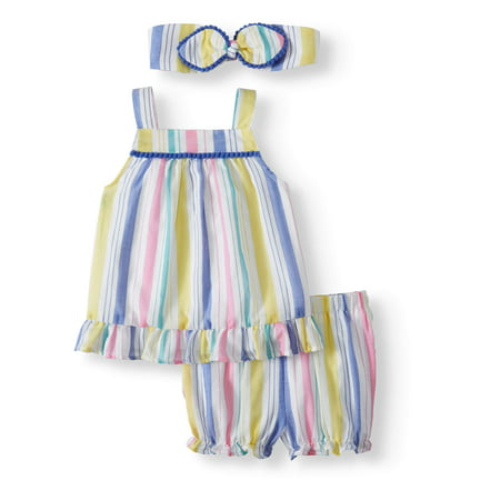 Striped Woven Babydoll Top, Diaper Cover and Headband, 3pc Set (Baby Girls) - Infant Clothing Clearance