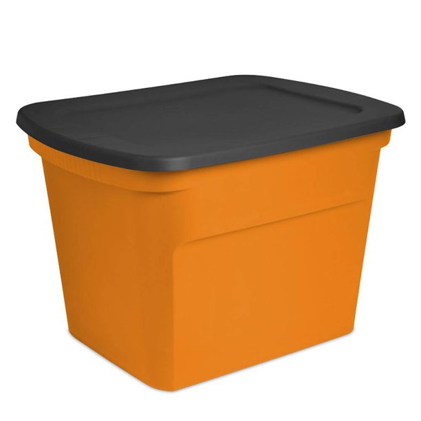 Sterilite 18 Gallon Orange Plastic, Orange Plastic Storage Totes